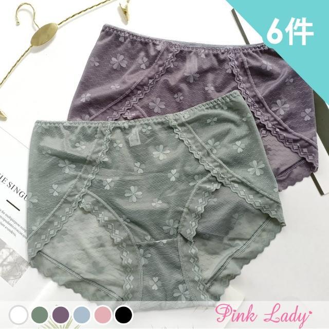 【PINK LADY】性感透膚蕾絲內褲 幸運戀歌 中高腰內褲(6件組)