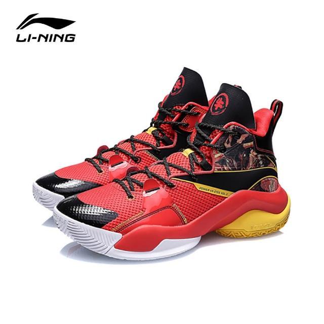 【LI-NING 李寧】LI-NING 李寧 空襲VII V2男子減震中筒籃球鞋 李寧紅/黑色(ABPR009-3)