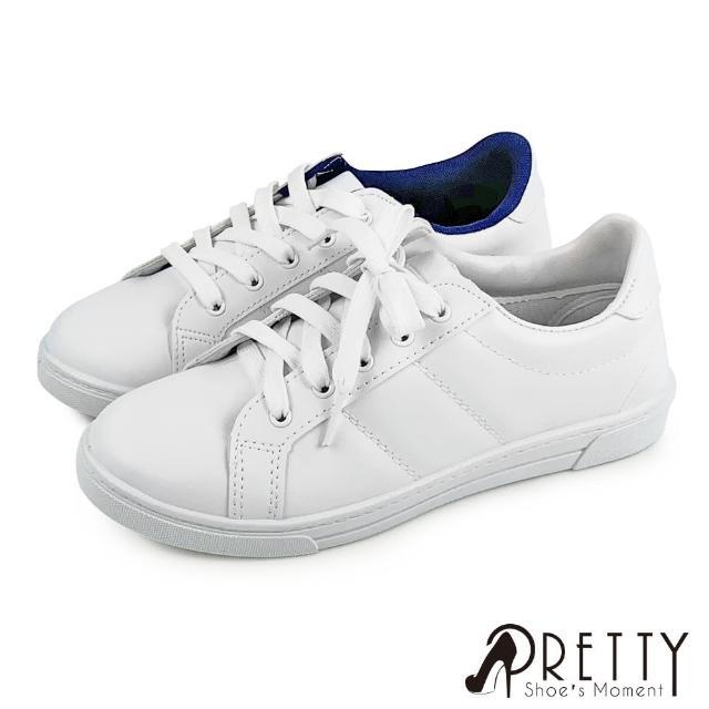【Pretty】台灣製極簡時尚綁帶休閒鞋/板鞋/小白鞋(白藍、白色)