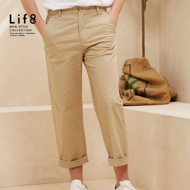【Life8】Casual 舒適簡約 基本寬版長褲-卡其色(02605)