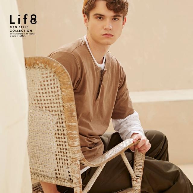 【Life8】Casual 竹節織紋 半開領短袖上衣(10518)
