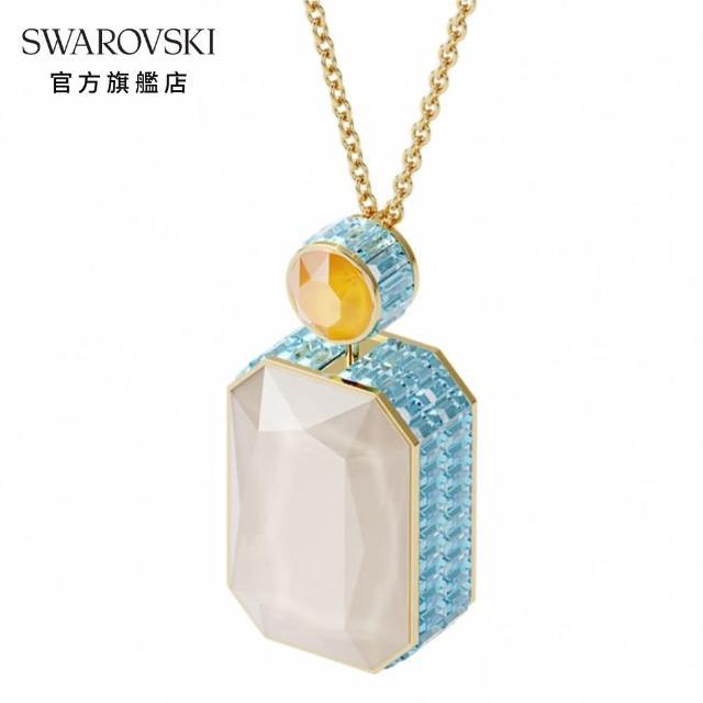 【SWAROVSKI 施華洛世奇】ORBITA 淡金色漸層水晶雙面八角形項鏈