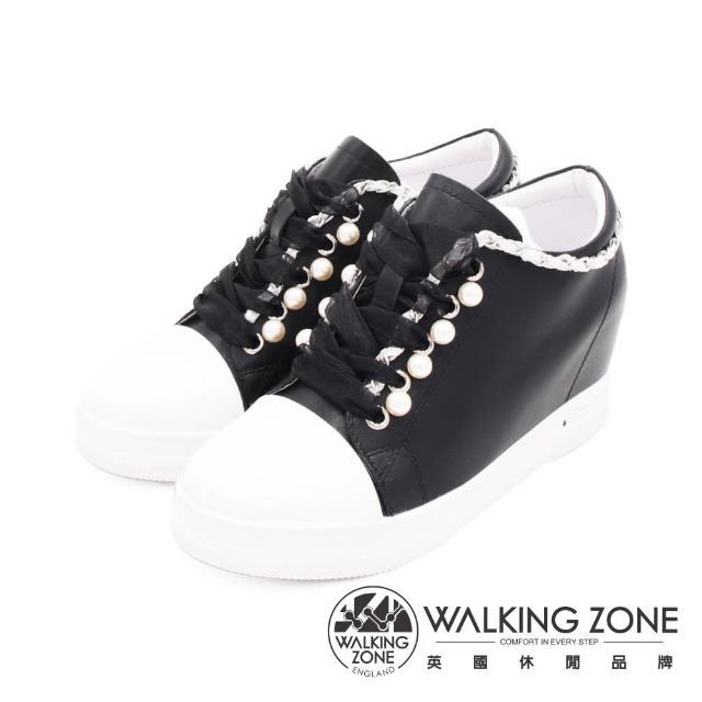 【WALKING ZONE】女 鍊式休閒心機增高女鞋(黑)