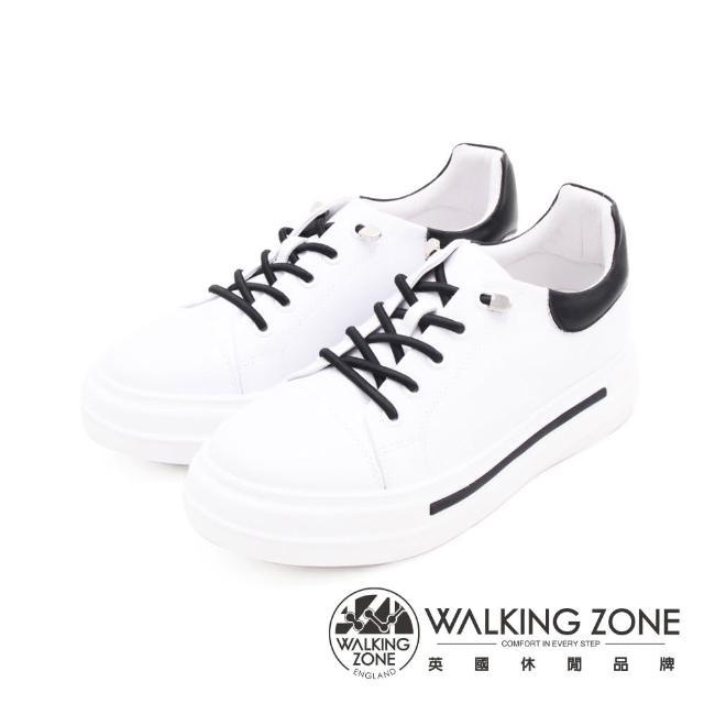 【WALKING ZONE】女 免綁帶休閒潮流女鞋(黑白)