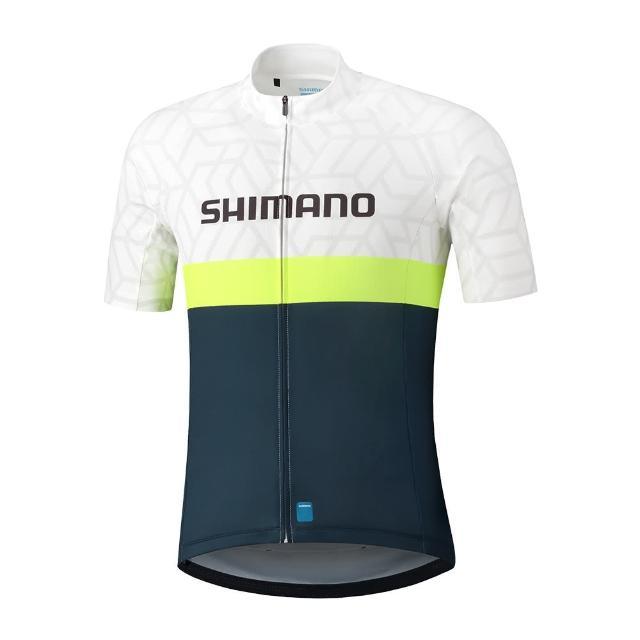 【SHIMANO】TEAM 男款短袖車衣 白/海軍藍