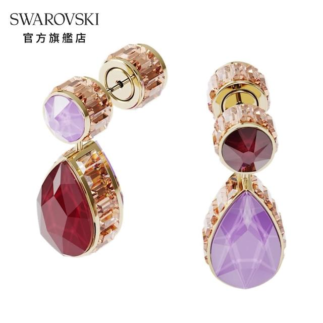 【SWAROVSKI 施華洛世奇】ORBITA 淡金色白水晶非對稱水滴型穿孔耳環