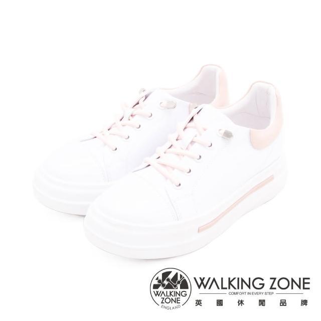 【WALKING ZONE】女 免綁帶休閒潮流女鞋(粉白)