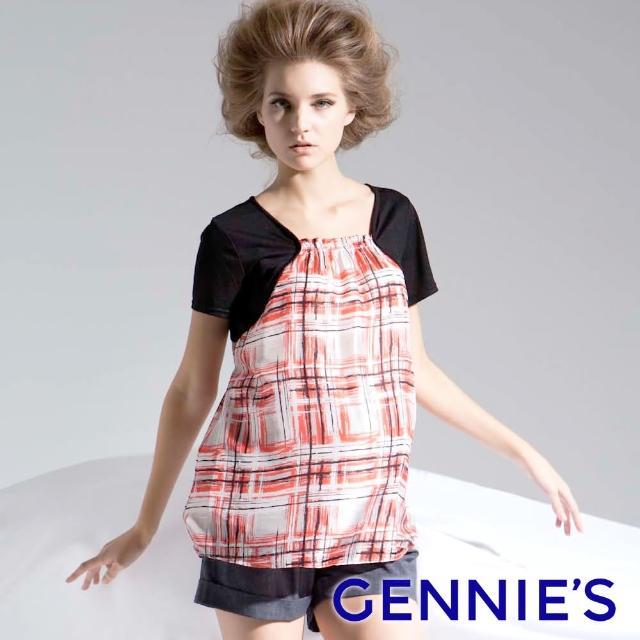 【Gennies 奇妮】彩墨風輕盈上衣(紅/黃T3346)