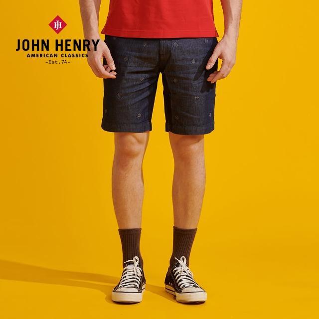 【JOHN HENRY】復古滿版刺繡牛仔短褲
