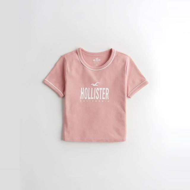 【HOLLISTER Co】Hollister 海鷗 經典印刷文字短版圖案短袖T恤-女-粉色