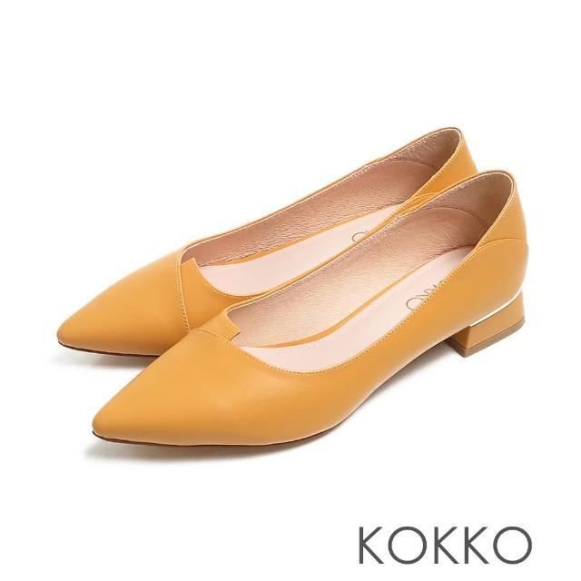 【KOKKO 集團】經典尖頭素面剪裁羊皮方粗跟鞋(亮麗黃)