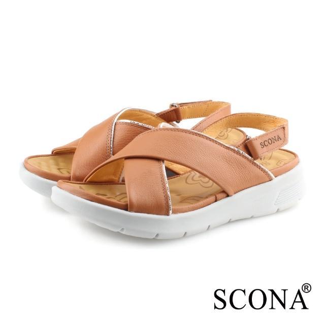 【SCONA 蘇格南】全真皮 輕量舒適加州涼鞋(棕色 31121-2)