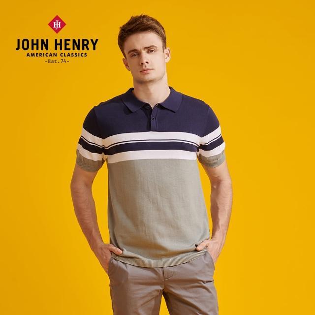 【JOHN HENRY】撞色橫條polo針織衫
