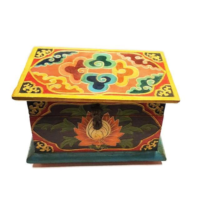 【十方佛教文物】蓮花尼泊爾手工木雕寶箱