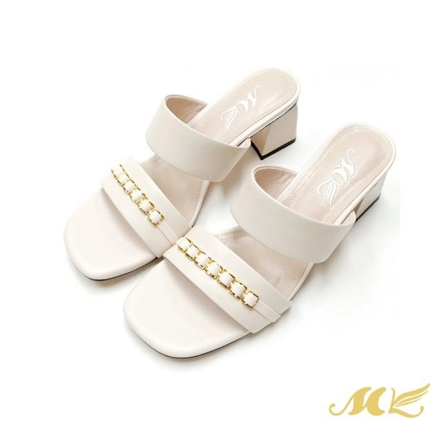 【SM】時尚鎖鏈真皮中跟鞋(米白色)