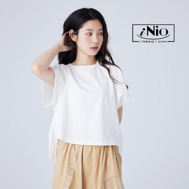 【iNio 衣著美學】前短後長下襬微澎造型短袖上衣(S-L適穿)-現貨快出C1W1180
