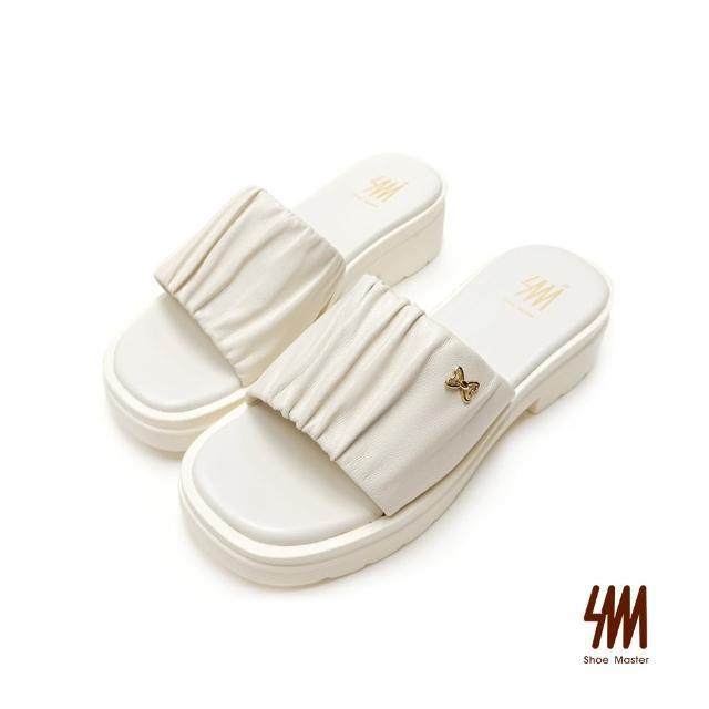 【SM】真皮蝴蝶結皺褶厚底拖鞋(米白色)