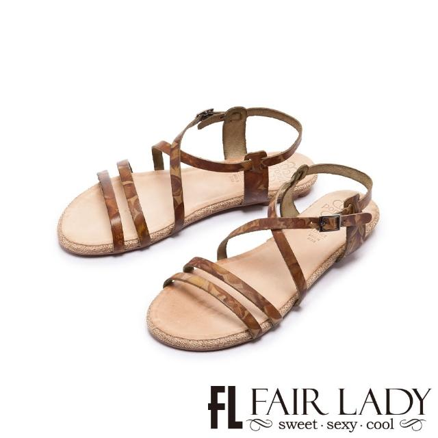 【FAIR LADY】PORRONET 植鞣皮革線條平底涼鞋(綠、122372)