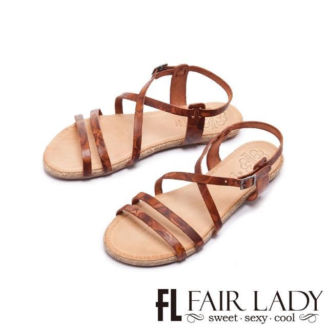 【FAIR LADY】PORRONET 植鞣皮革線條平底涼鞋(棕、122372)