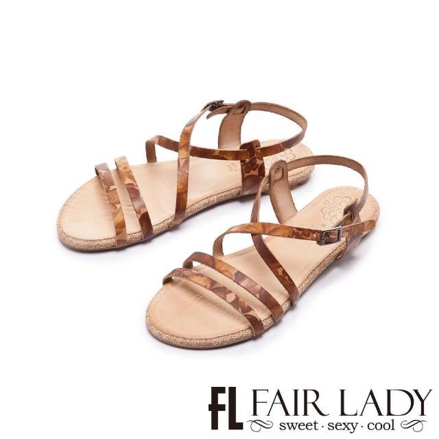【FAIR LADY】PORRONET 植鞣皮革線條平底涼鞋(卡其、122372)
