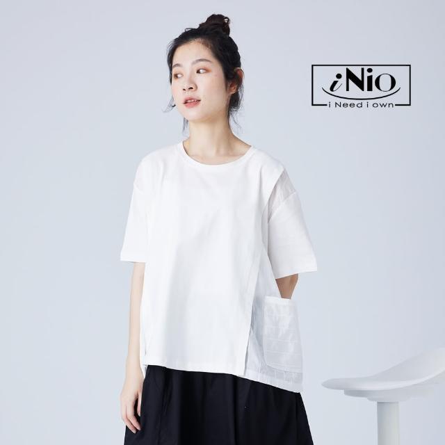 【iNio 衣著美學】層次拼接落肩口袋造型短袖上衣(S-L適穿)-現貨快出C1W1166