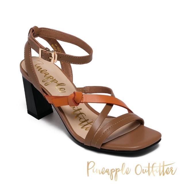 【Pineapple Outfitter】INGRID 真皮撞色交叉細帶高跟涼鞋(棕色)