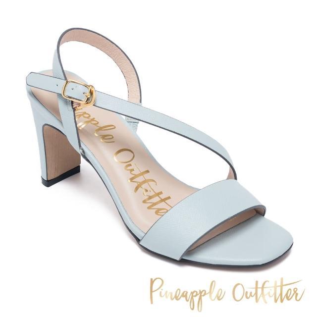 【Pineapple Outfitter】SANNA 真皮一字斜細帶高跟涼鞋(淺藍)