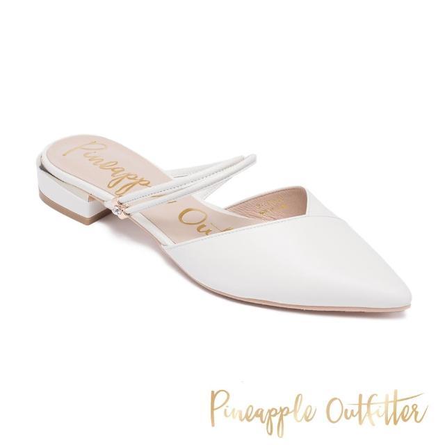 【Pineapple Outfitter】RICHELLE 真皮尖頭低跟涼拖鞋(白色)
