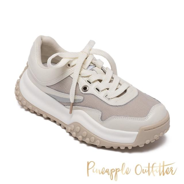 【Pineapple Outfitter】TELYN 真皮綁帶舒適厚底老爹鞋(米杏)