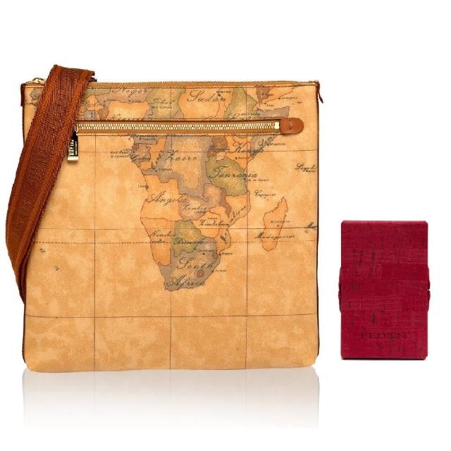 【Alviero Martini】義大利地圖包 限量福袋組 斜側背包+硬殼名片夾(地圖黃)