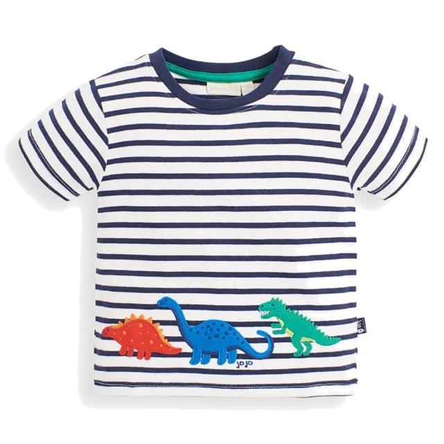 【JoJo Maman BeBe】超優質嬰幼兒/兒童100%純棉短袖上衣/T-shirt/動物T_恐龍大遊行(JJH1530)