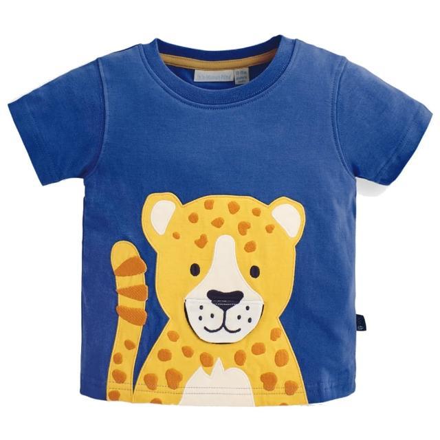 【JoJo Maman BeBe】超優質嬰幼兒/兒童100%純棉短袖上衣/T-shirt/動物T_美洲豹(JJH1573)