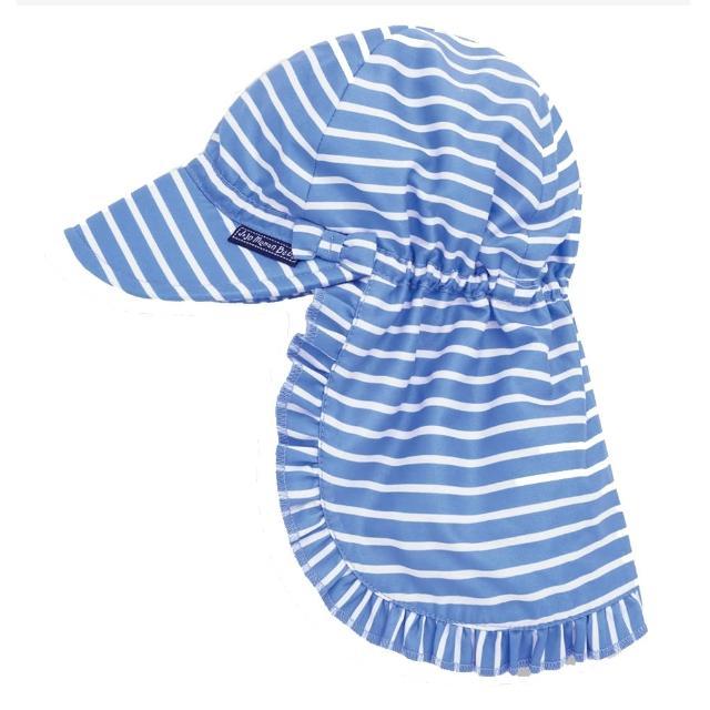 【JoJo Maman BeBe】嬰幼兒/兒童UPF50+防曬護頸遮陽帽_藍白條紋(JJD2112S)