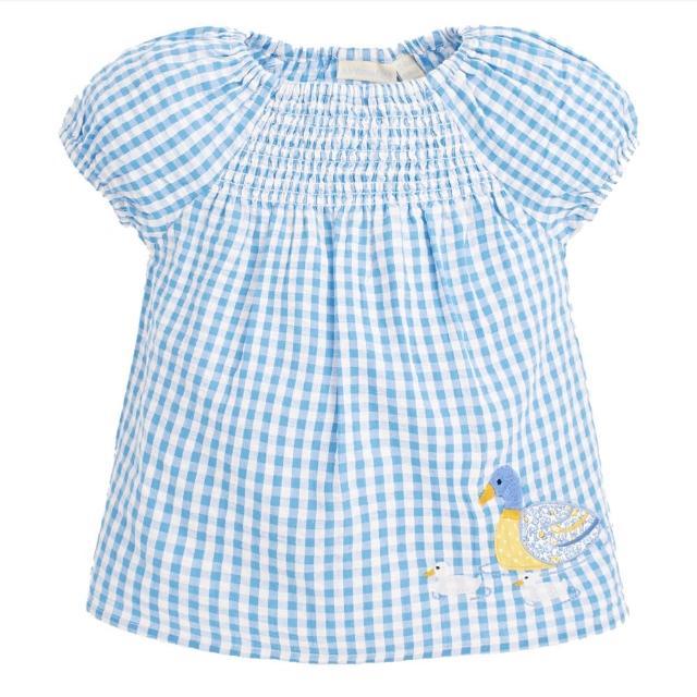 【JoJo Maman BeBe】超優質嬰幼兒/兒童100% 純棉短袖上衣_優雅藍鴨(JJH1594)