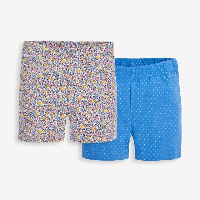 【JoJo Maman BeBe】超優質嬰幼兒/兒童100% 純棉鬆緊帶短褲2入組_海洋藍碎花(JJE5537)
