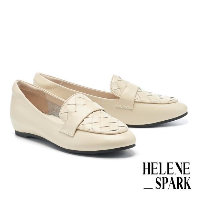 【HELENE SPARK】率性日常全真皮編織內增高樂福低跟鞋(白)