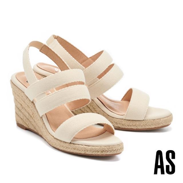 【AS 集團】愜意時尚寬繫帶草編楔型高跟涼鞋(米)