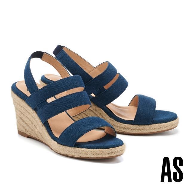 【AS 集團】愜意時尚寬繫帶草編楔型高跟涼鞋(藍)