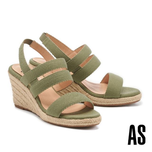 【AS 集團】愜意時尚寬繫帶草編楔型高跟涼鞋(綠)