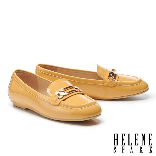 【HELENE SPARK】百搭金屬鏈釦全真皮樂福平底鞋(黃)