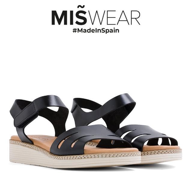 【MISWEAR】Miswear 真皮鏤空黏貼厚底涼鞋-黑