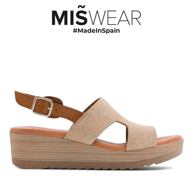 【MISWEAR】Miswear 麂皮復古楔型涼鞋-米