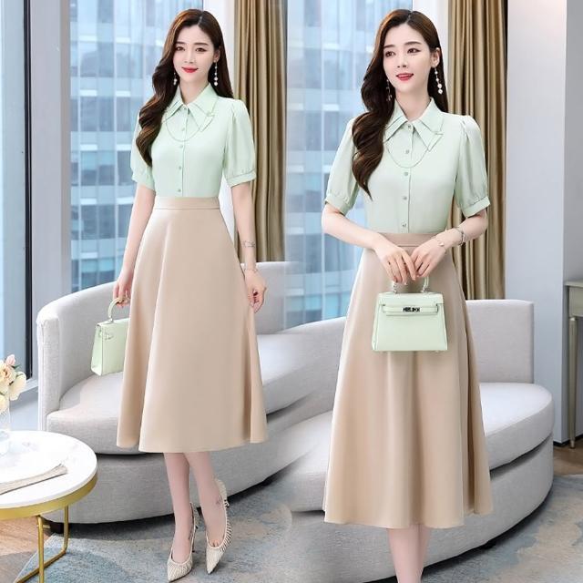 【SZ】優雅造型衣領純色襯衫+修身A字裙套裝M-2XL(共五色)