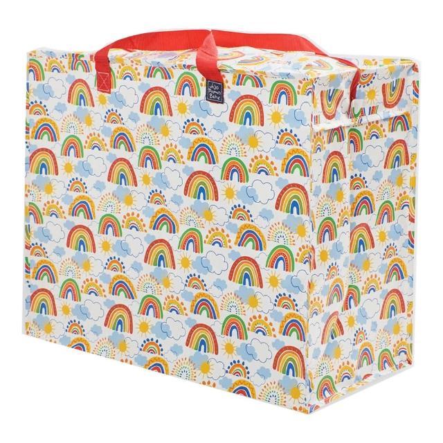 【JoJo Maman BeBe】超大多功能收納袋可收納衣物/棉被/用品_七色彩虹(JJE7185)