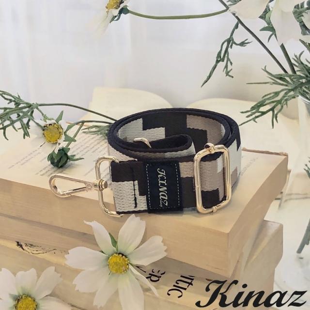 【KINAZ】幾何方塊品牌質感寬版背帶-奶油摩卡-帶我走系列