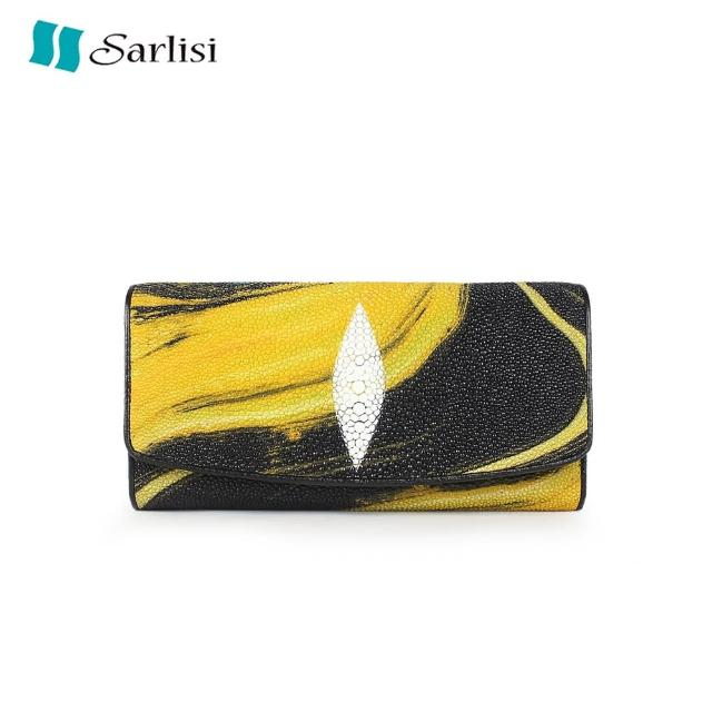 【Sarlisi】新款真皮珍珠魚皮錢包女長款時尚長夾小眾設計女士夏季手拿包