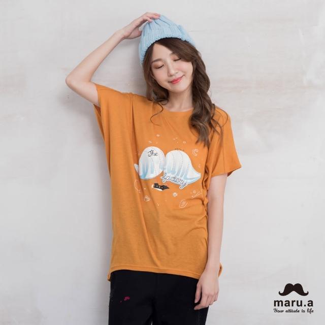 【maru.a】鬍子飛船印花寬鬆T-shirt(4色)