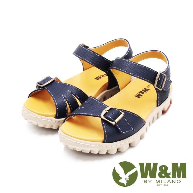 【W&M】女 可調式真皮厚底輕量涼鞋 女鞋(藍)