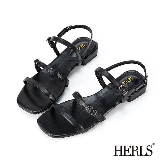 【HERLS】涼鞋-簡約三橫帶釦環低跟涼鞋(黑色)