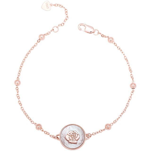 【MARIGOLD 美爾朵】925純銀母貝立體雕刻玫瑰手鍊(玫瑰金)